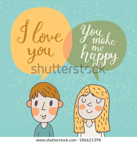 cute vector card with boy and