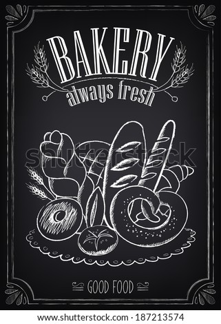 vintage bakery poster freehand