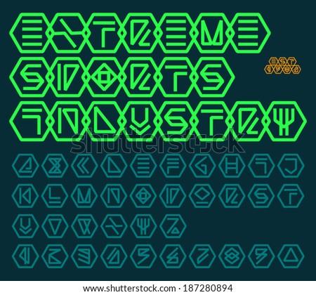 futuristic unreadable alphabet
