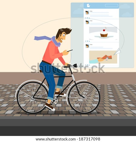 handsome guy is riding a bike