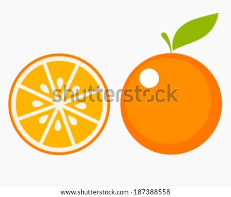 orange fruit with leaf and