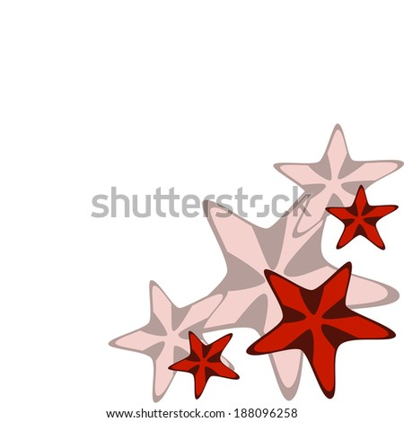 frame with red starfishes on