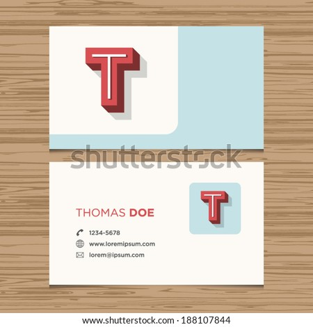 business card with alphabet