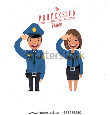 police male and female   vector