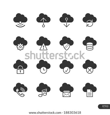 cloud icons set
