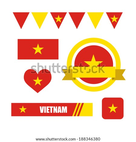 vietnam flag  banner and icon