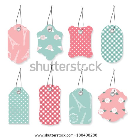 cute textile label tags set in