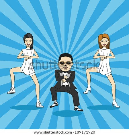 cartoon man and two girls show