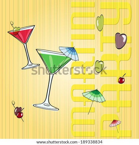 hand drawn martini glass