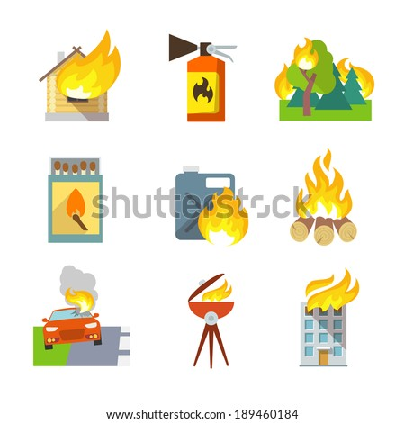 fire protection icons set of