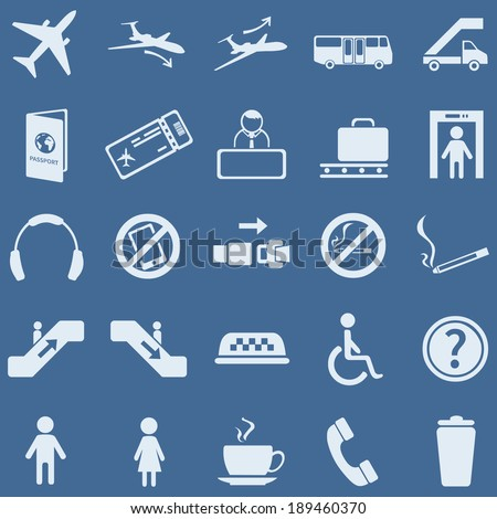 vector set of 25 blue airport