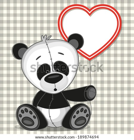 cute panda with heart frame