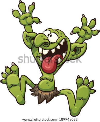 crazy cartoon troll vector