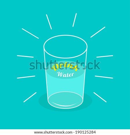 big  shining glass of water