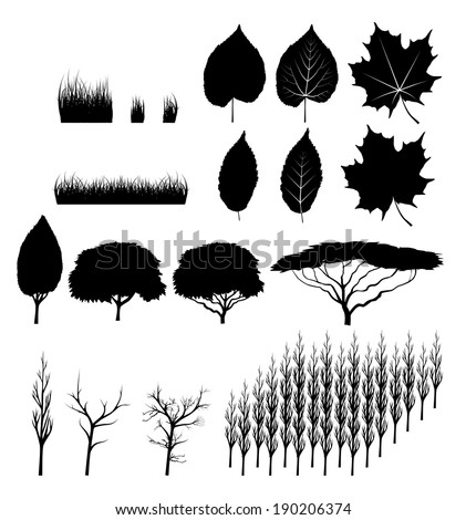 set of vector trees and leaves