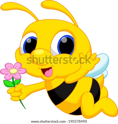 cute bee cartoon flying while
