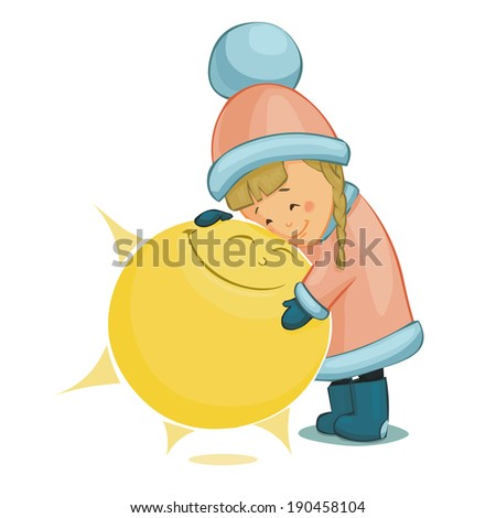 little girl and sun vector