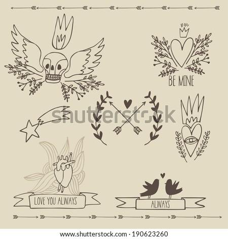 hand drawn love set wit skull