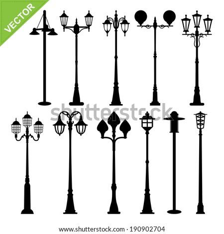 retro street lamps silhouettes