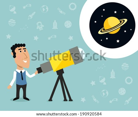 cartoon male astronomer