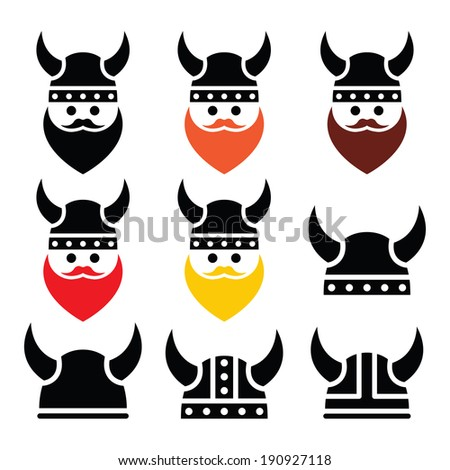 viking warrior in helmet icons
