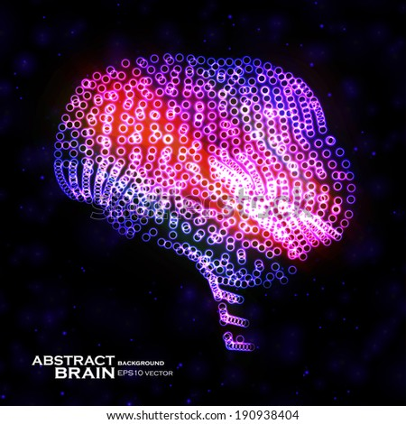 neon brain  abstract vector