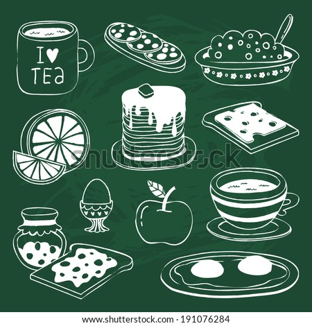 cute breakfast icon set with