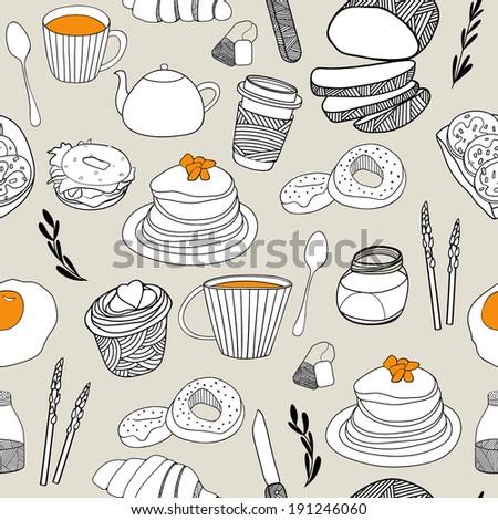 cartoon food seamless pattern