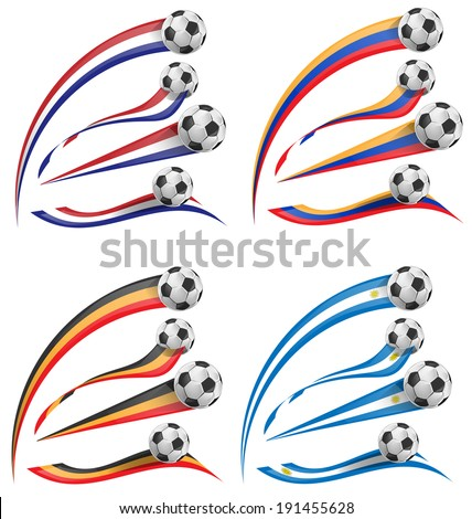 flag set white soccer ball