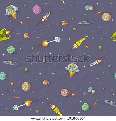 cartoon space seamless