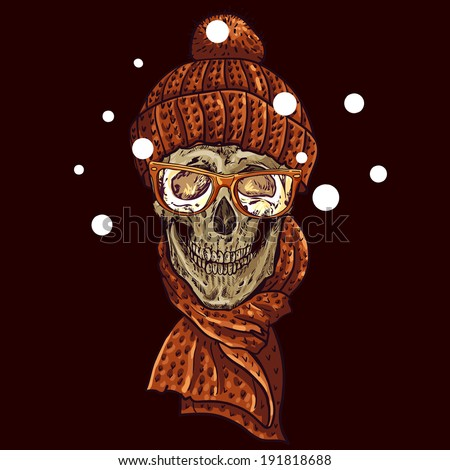 christmas hipster skull winter
