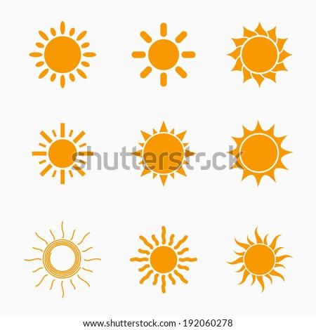orange sun symbols set