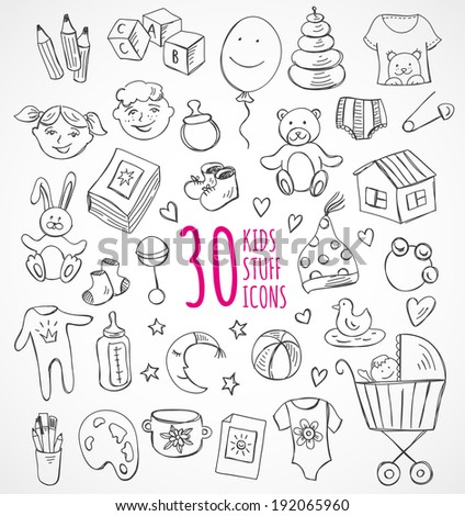 vector set of sketch icons kids