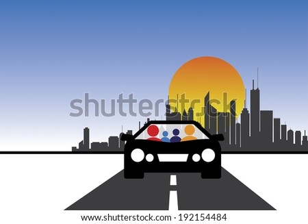 family  car and city concept