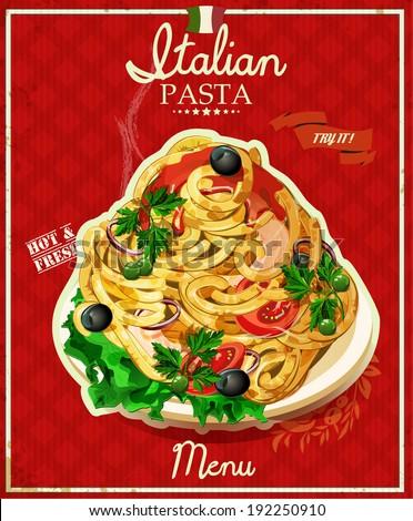 Italian pasta spaghetti with sauce restaurant menu poster in
