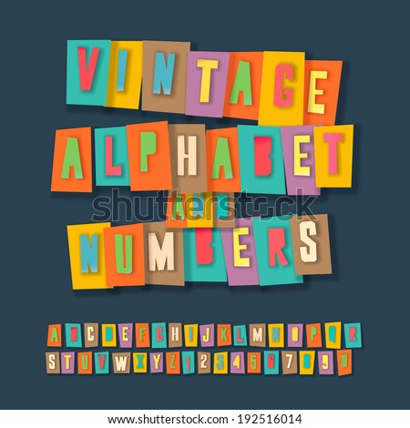 vintage alphabet and numbers