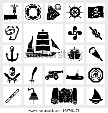 vector black icon set ship and