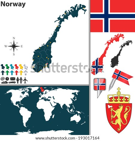 vector map of norway with
