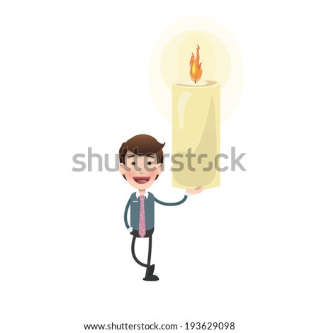 businessman with candle over