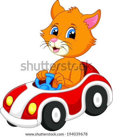 cute cat cartoon driving car