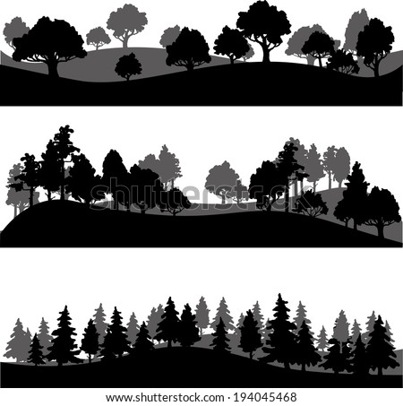 set of different silhouettes of