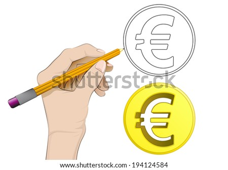 golden euro coin as isolated