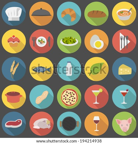 chef's flat food icons for