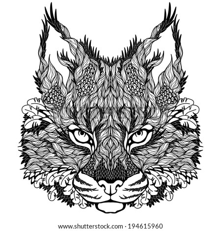 lynx   bobcat head tattoo