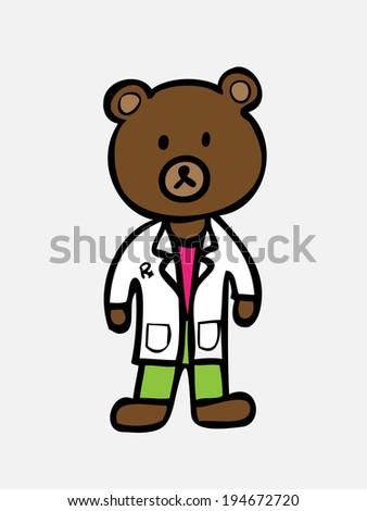 brown bear in pharmacist uniform