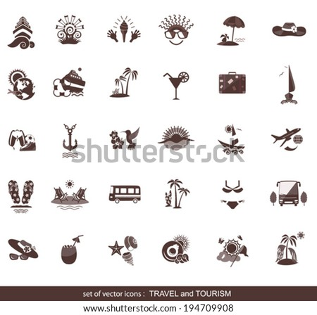 set of modern flat travel icons