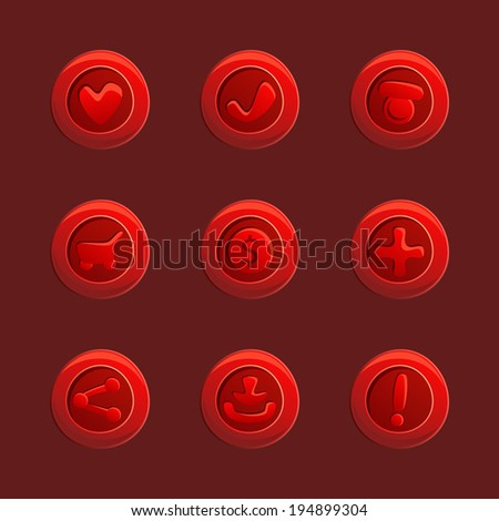 set of red vector elements for