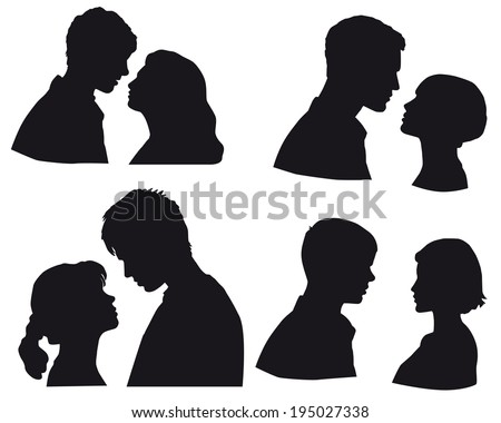 set of silhouettes  ouple in