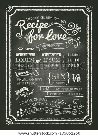 recipe chalkboard wedding