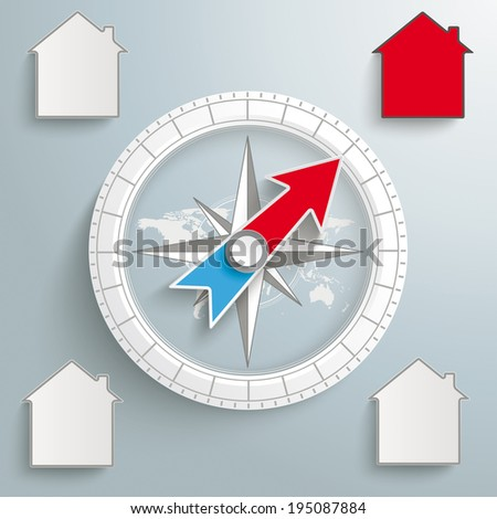 white compass with houses on